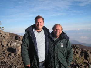 My son Kyle, (the tall one :) )  and I on Mauna Kea